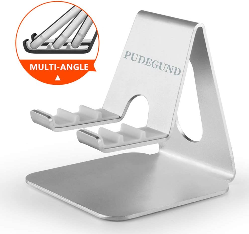 [PUDEGUND] Cell Phone Stand Holder Compatible for iPhone 11 Pro Max SE XS XR 8 Plus 6 7 5 for Kitchen, Office Desk, Samsung Galaxy S20 S10 S9 S8 S7 S6 Android Smartphone Holder for Men & Women