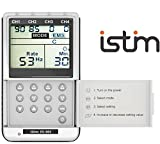 iSTIM EV-805 TENS EMS 4 Channel Rechargeable Combo Machine Unit - Muscle Stimulator + Back Pain Relief and Management- 24 Programs/Backlit (Including Electrodes Pads)