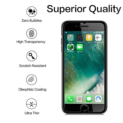 [2 Pack] Screen Protector Compatible iPhone 7/8 Plus, 9 HD Hard 99% Clear Tempered Glass Ultra Clear Shatter Proof Screen Protector Support iPhone 7 Plus, iPhone 8 Plus