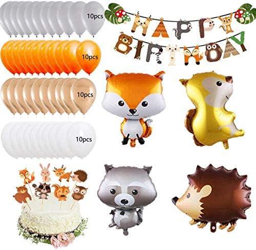 MMTX Animale Compleanno Festa Decorazione bambini Festoni Banner di buon compleanno Palloncino in lattice 40 Palloncino Foil Animal per Ragazzo ragazza Baby Shower Di Bosco Compleanno