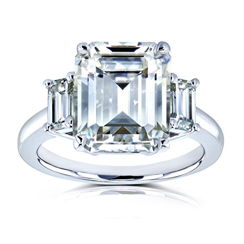 5 1/2 Carat TGW Three Stone Emerald Cut Moissanite Statement Engagement Ring in 14k White Gold - Size ()