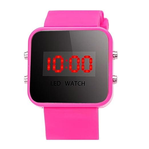 RLFS Reloj de Pulsera Deportivo para niños, Relojes Deportivos de Silicona (Rosa roja)