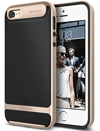 Price comparison product image iPhone 5S Case, Caseology [Wavelength Series] Textured Pattern Grip Cover [Black / Gold] [Shock Proof] for Apple iPhone 5S - Black / Gold