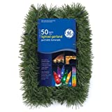 Good Tidings 84605 Garland Green Pine Roping 50 GE Multi-Colored Lights, 3-1/2-Inch by 12-Foot