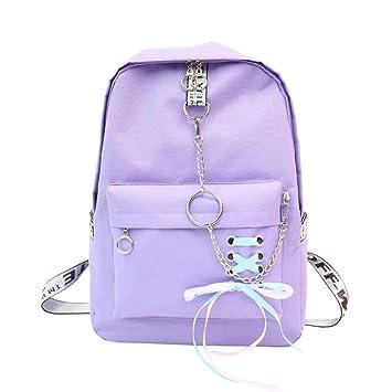 Eeayyygch Mochila para Mujer Mochila de Cuero Mochila para niñas Mochila Informal Mochilas Escolares Bolsa Satchel Violeta (Color : -, tamaño ...