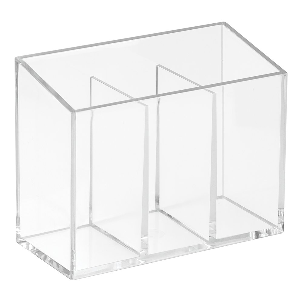 InterDesign Clarity Cosmetic Organizer with Lid for Vanity Cabinet to Hold Makeup, Beauty Products - Clear 38710