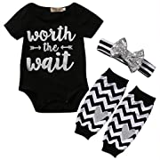 3PCS Baby Girls Cute Worth The Wait Bodysuit and Socks Outfit with Headband (0-3 Months)