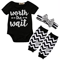 3PCS Baby Girls Cute Worth The Wait Bodysuit and Socks Outfit with Headband (...