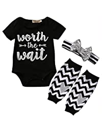 3PCS Baby Girls Cute Worth The Wait Bodysuit and Socks Outfit with Headband