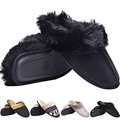 Aukusor Men's Slippers With Comfort Memory Foam, House Shoes, Wool-Like Plush Fleece Lined Slippers, Indoor, Outdoor Anti-Skid Sole(TS330BK,M)