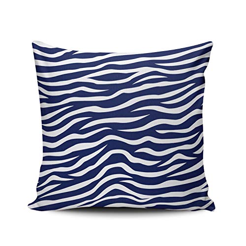 DOUMIFA Home Throw Pillow Case Navy Blue and White Animal Print Zebra Stripes Square Decorative Pillowcase Cushion Cover Both Sides Same Colored Printing 18X18 inch - Cover Zebra Blue