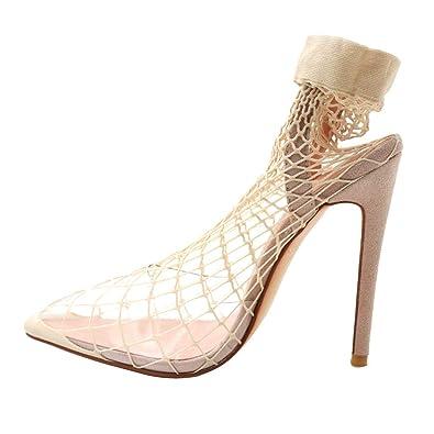 e725df2f38 Themost Fishnet Heels Sandals for Women, Stiletto Heel Fishnet Stockings  Sandal Sharp Toe High Heels