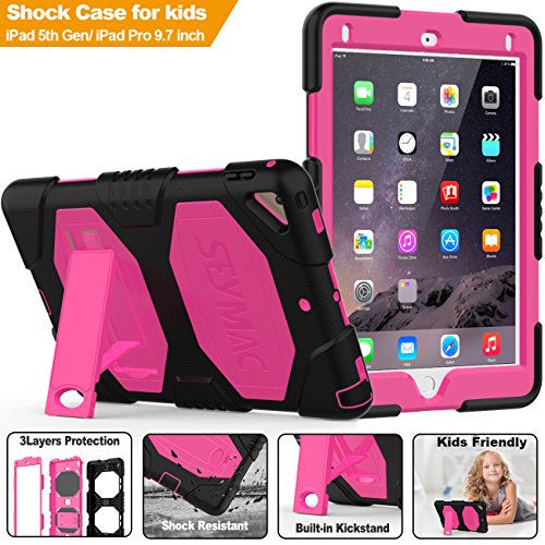 - New iPad 9.7 2017/2018 Case, SEYMAC Three Layer Heavy Duty Soft Silicone Hard Bumper Case with stand Drop proof Scratch Resistant Protective Case for iPad 5th/6th Generation air2 pro 9.7 (Black/Pink)