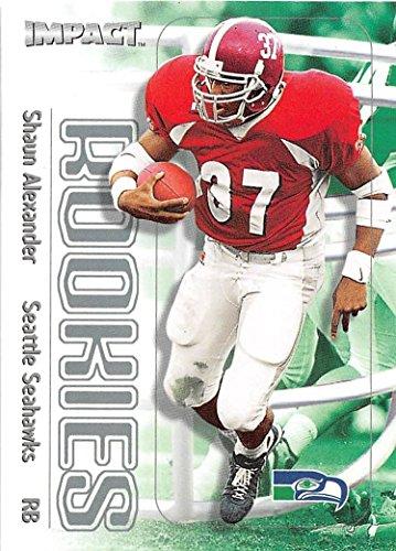 2000 Fleer Skybox Impact Shaun Alexander Rookie Card (RC) #173 Seahawks and Alabama great RB - shipped in a screwdown acrylic holder