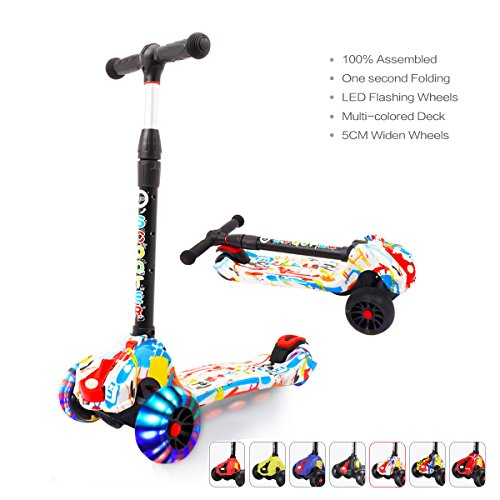 (XJD Kick Scooters for Kids Toddler Scooters Adjustable Height Extra-Wide 3 Wheels Boys Girls 100% Assembled Light Up Wheels Children from 2 to 14 Year-Old (Graffiti))