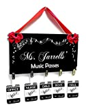 Personalized Themed Hallpasses Simple Elegant Black Music Notes Theme