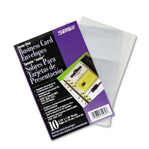 (Samsill Products - Samsill - Business Card Binder Refill Pages, Six 2 x 3 1/2 Cards per Page, Clear, 10 Pages - Sold As 1 Pack - Expand or replace business card storage with these refill sheets. - Constructed with special non-glare vinyl. - Each business card is visible for easy recognition and organization.)