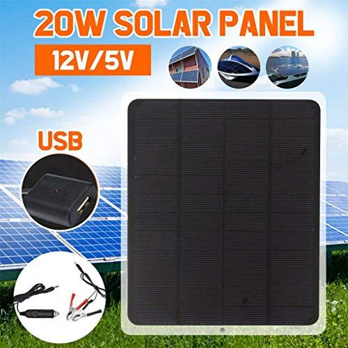 Herramienta de Mejoras Para El Hogar,TwoCC Panel 12V 20W Solar / 5V Cargador de Batería Para Motorhome Boat Car House…