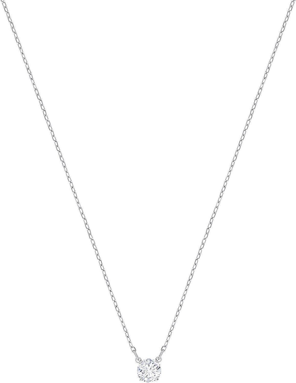 Swarovski Collar Attract Round, de Mujer, Blanco, Baño de Rodio