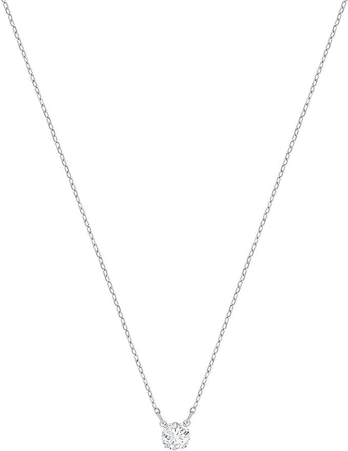 Swarovski Collar Attract Round, baño de rodio, Cristal Blanco, para Mujer
