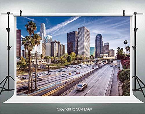 Photo Backdrop Downtown Cityscape of Los Angeles California USA Avenue Buildings Palms 3D Backdrops for Interior Decoration Photo Studio Props]()