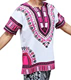 RaanPahMuang Brand Unisex Bright White Cotton Africa Dashiki Shirt Plain Front, Large, White Pink