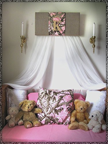 Bedroom Realtree Camouflage Mossy Oak PINK canopy Crib teester Girls nursery BuRLAP Cammo Baby HunTing WHITE sheer curtains Bed So Zoey Boutique SaLe ()