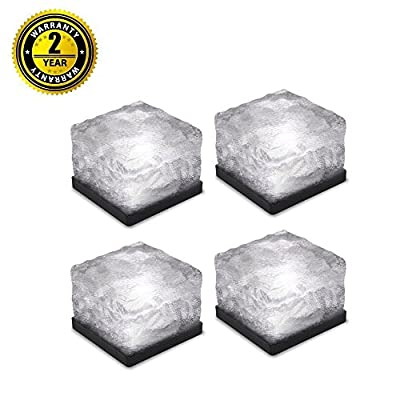 Solar Path Ice Cube Lights LED In-ground Buried Brick Landscape Light for Garden Courtyard Pathway Patio Pool Pond Outdoor Decoration 4PC (Upgraded Package)