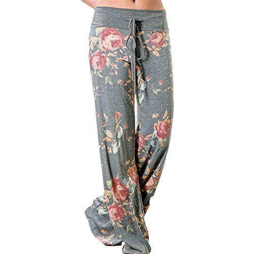 Yoga Pyjama Sportswear Pants Minma Women's Rose Printing With Four Colors and Plus Size Wide Legged (M, Grey)