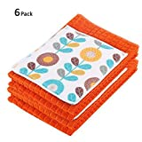 Kleanner Dish Towel & Dry Mat Set,Easy Foaming, Cleaning,Absorbent And Fast Dry Cloth,6 Pack/Set,4 Pack Dish Towel,2 Dry Mat (Orange)