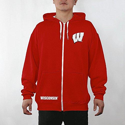 Icon Full Zip Hoody - Elite Fan Shop Top of The World Wisconsin Badgers Men's Full Zip Hoodie Applique Icon, Red, Medium