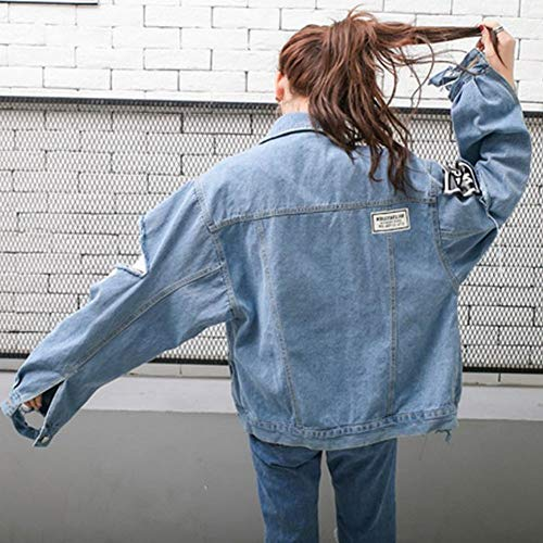 Moda Azul Jacket Traje Mujeres Tops Personalidad de Joker Denim y Carta Primavera M Hole Otoño CWJ 6nPwHXFqX
