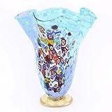 GlassOfVenice Murano Glass Millefiori Fazzoletto Vase - Aqua