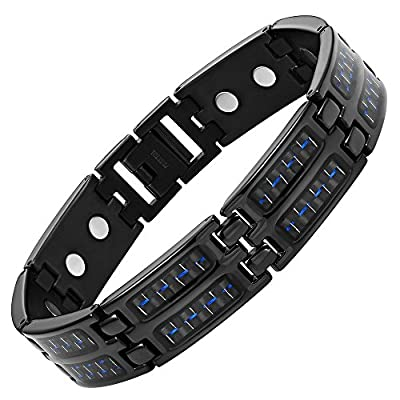 Blue Carbon Fiber Titanium Magnetic Bracelet Double Strength Adjusting Tool and Gift Box Included By Willis Judd