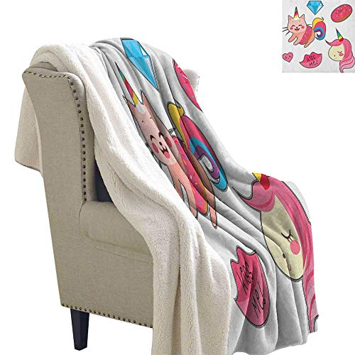 Suchashome Unicorn Cat Lightweight Thermal Blankets Cute Fantastic Icons for Girls Magical Characters Mythological Mascots Throw Blanket 60x78 Inch Pink Multicolor ()