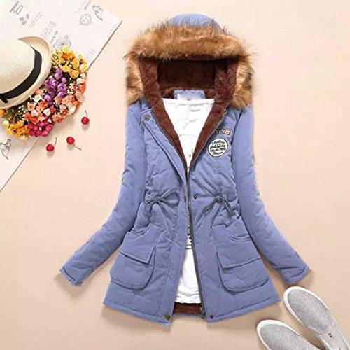 Blu Parka Cielo Cappotti Con Outwear Longra® Inverno Donne Collo Di Pelliccia Cappotto Caldo Lungo Cappuccio Slim Giacca Fit 6Twaxg