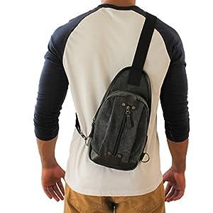Canvas Tactical Sling Bag Outdoor Sport Adjustable Strap Right Left Backpack (JTC-8173-KTB) (Black)