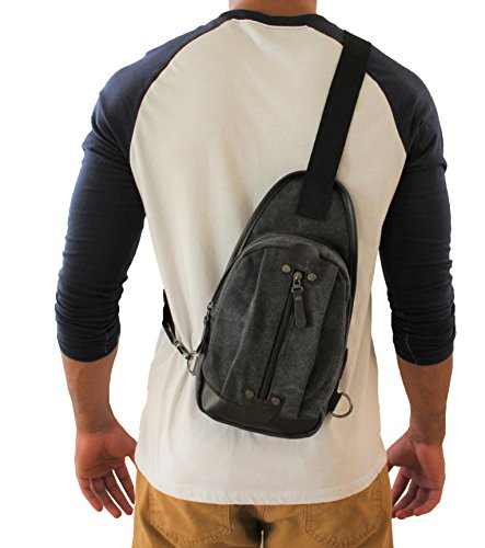 Canvas Tactical Sling Bag Outdoor Sport Adjustable Strap Right Left Backpack (JTC-8173-KTB)