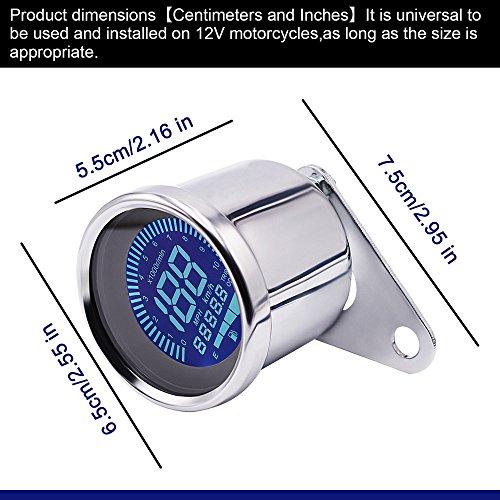 Digital Speedometer for Motorbike, TechCode LED Digital LCD Odometer 12V Universal Motorcycle LED LCD Tachometer Speedometer Multifunctional Modification Speedometer Instrumentation Aluminum Alloy Set by TechCode (Image #6)