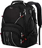 Extra Large Backpack,17inch Laptop Backpack with Luggage Sleeve for Men and Women,TSA Friendly Travel Laptop Backpack with USB Port,Water Resistant College School Bookbags for Boys & Girls,Black