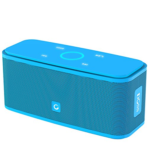DOSS SoundBox Bluetooth 4.0 Portable Wireless speaker,Superior Sound quality with a powerful Subwoofer,sensitive touch control,Sleek and Modern Design,Build in Microphone[Color:Blue] (Electronic Portable Speaker)