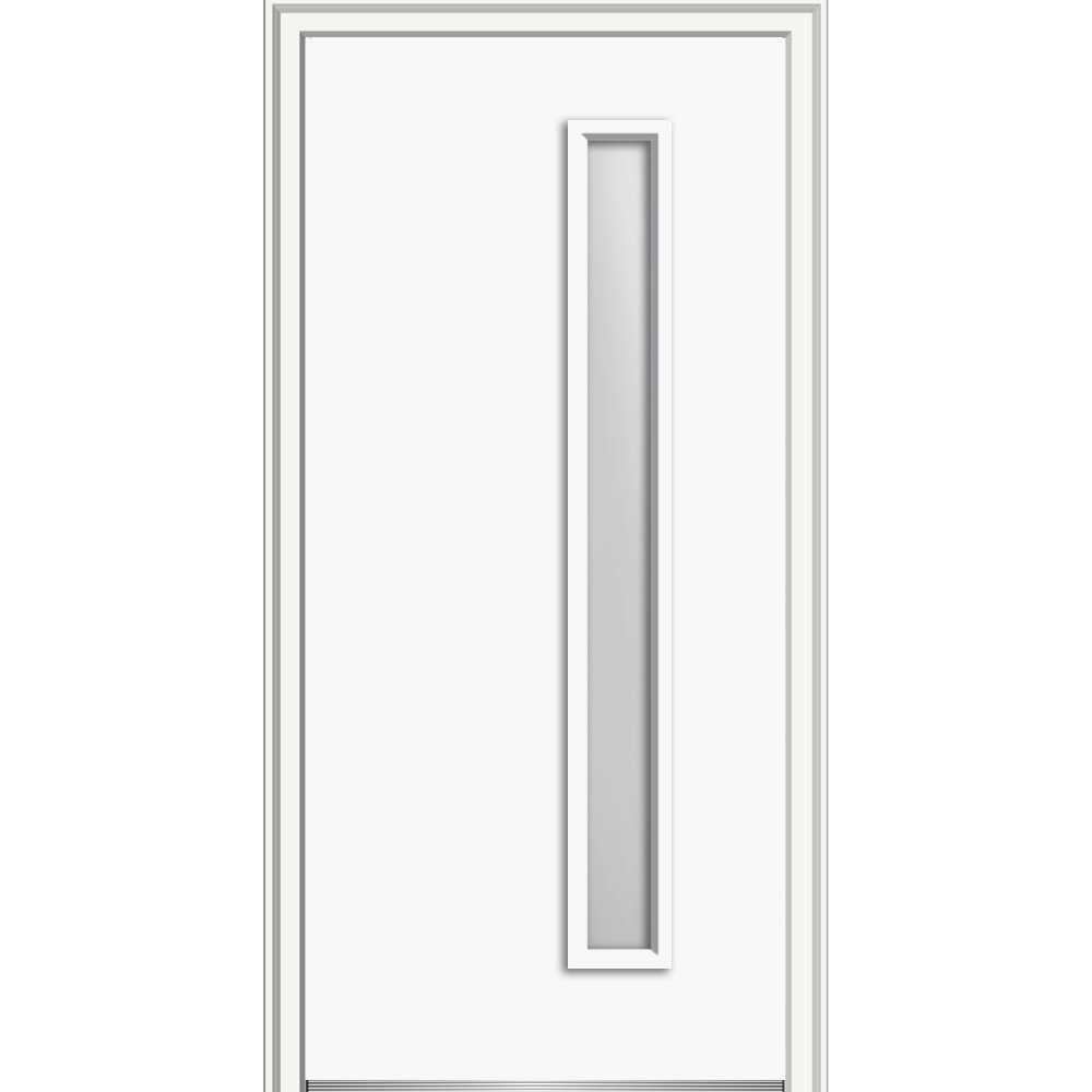 National Door Z0351334R Right Hand In-swing Exterior Prehung Door, Clear Low-E 1-Lite, Steel