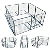 My1stPet 8 Panels Metal Exercise Dog Playpen with Door, Hammertone, 32