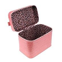 MonkeyJack Travel PU Cosmetic Beauty Train Vanity Case Makeup Toiletry Storage Box Bag Nail Polish Holder - Pink