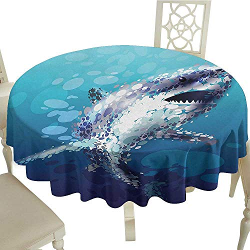 Maple Desk Atlantic (longbuyer Round Tablecloth Cotton Shark,Digital Made Psychedelic Shark Figure with Droplets Scary Atlantic Beast Abstract Art,Blue Grey D36,for 24 inch Table)