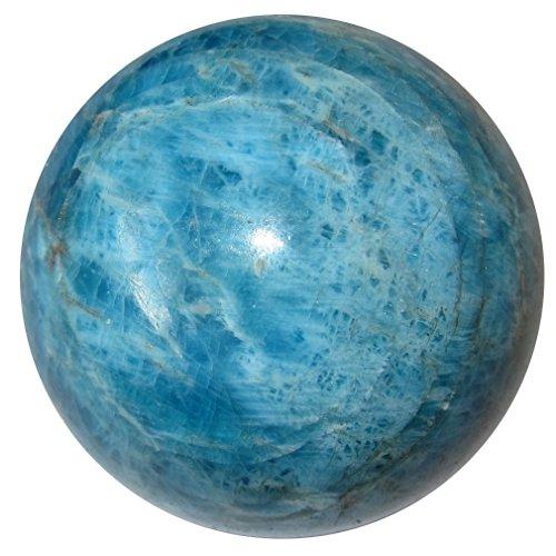 Apatite Ball 63 Blue Sky Crystal Throat Third Eye Chakra Stone Metaphysical Energy Sphere 1.8'' by SatinCrystals