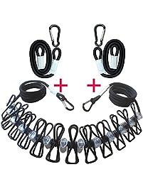 TTEEKO Three Pieces Clothesline Portable Travel Elastic Retractable  Clothesline Adjustable Clothes Lines Rope For Indoor