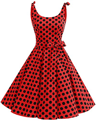 Bbonlinedress 1950's Bowknot Vintage Retro Polka Dot Rockabilly Swing Dress Red Black BDot S