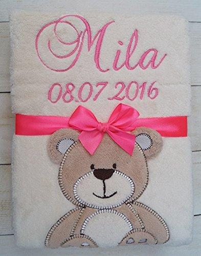 ★ Babydecke mit Namen und Datum bestickt ★ Baby Geschenke ★ Geburt ★ (Beige - Babybär) DeSti