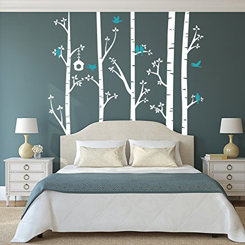 BATTOO Birch Tree Wall Decal Forest with Birds Nursery Bedroom Vinyl Sticker Removable(7 feet, white + teal) by BATTOO